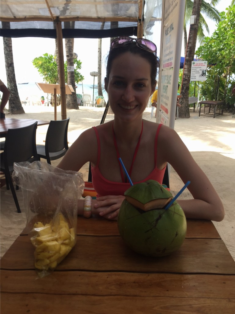 Enjoying fresh pineapple and coconut water